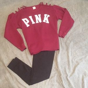 Pink Open Shoulder Sweater